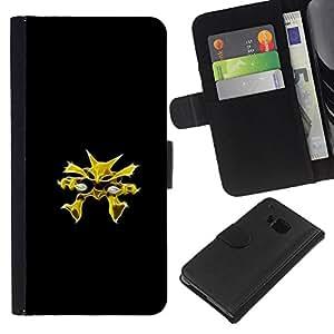 YiPhone /// Tirón de la caja Cartera de cuero con ranuras para tarjetas - Meter Monster Amarillo - HTC One M9