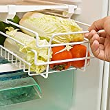 Ozzptuu Kitchen Refrigerator Freezer Under Shelf Space Saver Baskets Fridge Sliding Shelf Scalable Storage Rack Organizer