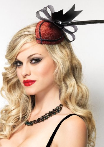 Price comparison product image Leg Avenue Retro Lurex Fascinator Hair Clip with Rhinestone & Feather,  One Size,  Red