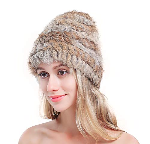 Metrekey Womens Winter Snow Hats Real Rabbit Fur Cap Cold Weather Ladies Beanies Naturalbrown