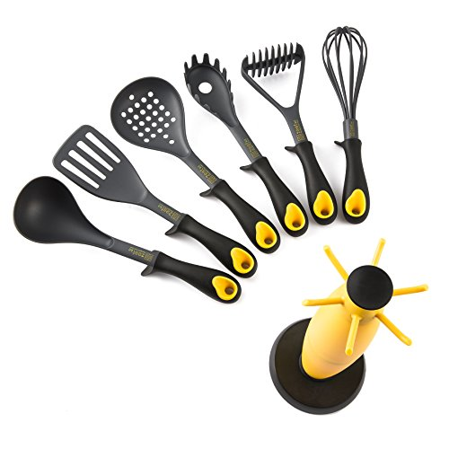 Zestkit 7 Piece Kitchen Utensils Set, Nylon Cooking Cookware Gadget Tool Set Includes Masher, Ladle, Slotted Spoon, Pasta Server, Whisk Slotted Turner and 360° Rotating Stand