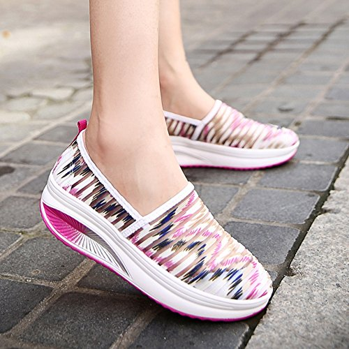 Cybling Ademend Mesh Oefening Wandelschoenen Comfort Slip Op Wedges Platform Sneakers Voor Dames Roze