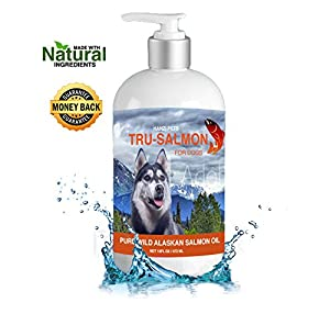 Pure Wild Alaskan Salmon Oil for Dogs, Cats and Horses | Rich in EPA + DHA | All-Natural | Anti inflammatory | Supports Joint Function | Skin & Coat | Non GMO | cGMP Certified | Made in USA