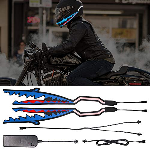 Motorcycle Helmet Light, Shark Shape Night Riding Signal Flashing Bar for Motorcycle Helmet Blue