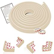 Mom's Besty EXTRA DENSE Child Safety Protectors & Furniture Bumpers Set – 16.2 Ft. Total Coverage (15 Ft. Edge & 4 TAPED Corner Guards) - IVORY WHITE - FREE Home Baby Proofing Checklist