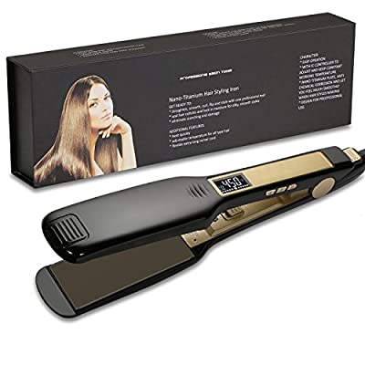 OSIR Professional Titanium Hair Straightener Flat Iron with Digital LCD Display ,Dual Voltage,Instant Heat Up(1.75 inch,black)