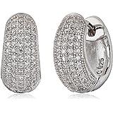"Crislu ""Huggables"" Sterling Platinum Cubic Zirconia Earrings"