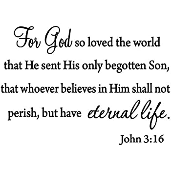 For So Loved The World Wall Decal Quote Religious Bible Verse John
