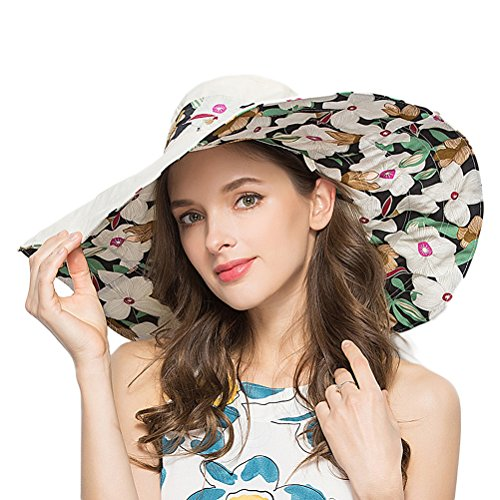 RIONA Women's Foldable Floppy Reversible Wide Brim Sun Beach Hat with Bowknot UPF 50+ (Floral Reversible Hat)