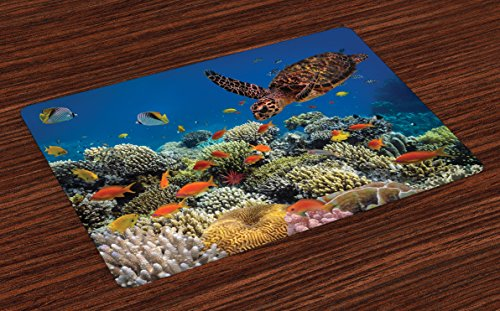 Lunarable Ocean Place Mats Set of 4, Fishes Old Turtle Hawksbill Floats Under Water Coral Reefs Dahab Red Sea, Washable Fabric Placemats for Dining Room Kitchen Table Decoration, Blue Orange and Brown (Ocean Place)
