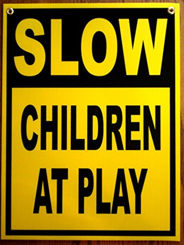1Pc Impassioned Unique Slow Children Play Sign At Drive Warning Gate Fence Yard Pole Traffic Signs Child Playing Area School Reflective Post Watch Kids Road Street Driveway Size 18