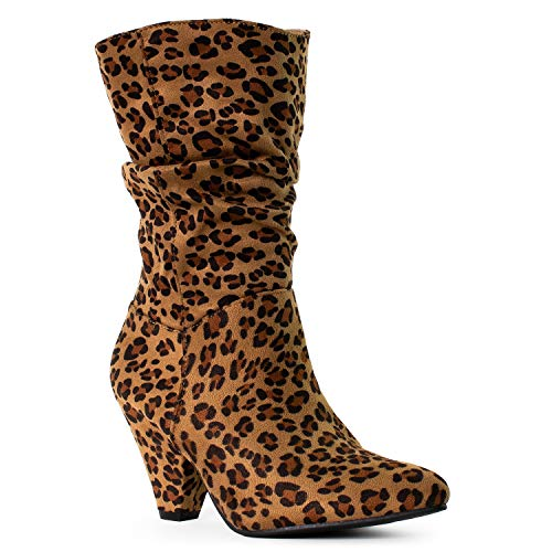 RF ROOM OF FASHION Women's Western Pointy Toe Chunky Cone Heel Slouch Ankle Boots Leopard (10) -