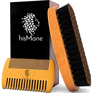 hisMane Beard & Mustache Brush and Comb Kit – 100% Natural Bristle Beard Brush & Wooden Grooming Comb – For Applying…