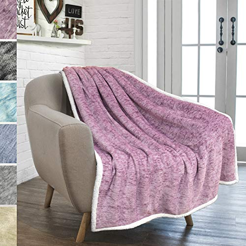 PAVILIA Premium Sherpa Throw Blanket for Couch Bed Sofa | Warm, Soft Microfiber Sherpa Fleece Throw | Plush Reversible Melange All Season Blanket (50 X 60 Inches Purple Wine)