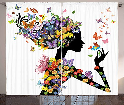 """Ambesonne Butterflies Curtains, Girl Fashion Flowers with Butterflies Ornamental Floral Foliage Nature Forest, Living Room Bedroom Window Drapes 2 Panel Set, 108"""" X 90"""", Black White"""