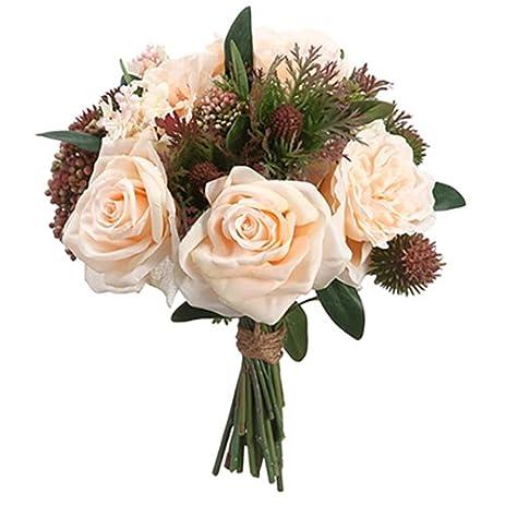 Amazon 13 rose lilac thistle silk flower bouquet peach 13quot rose lilac thistle silk flower bouquet peachgreen pack mightylinksfo