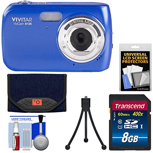 Vivitar ViviCam S126 Digital Camera (Blue) with 8GB Card + Case + Mini Tripod + Kit