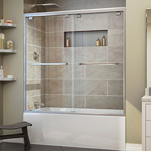 DreamLine Encore 56-60 in. Width, Frameless Bypass Sliding Tub Door, 5/16'' Glass, Brushed Nickel Finish by DreamLine