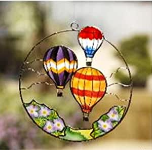 Handcrafted 5'' Hot Air Balloon Window Ornament / 4 Pack
