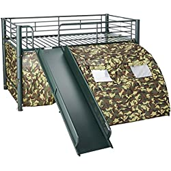 Coaster Home Furnishings Kids Camo Tent Twin Loft Bunk Bed with Slide - Camouflauge