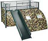 Oates Lofted Bed with Slide and Tent Army Green and Camouflage Review