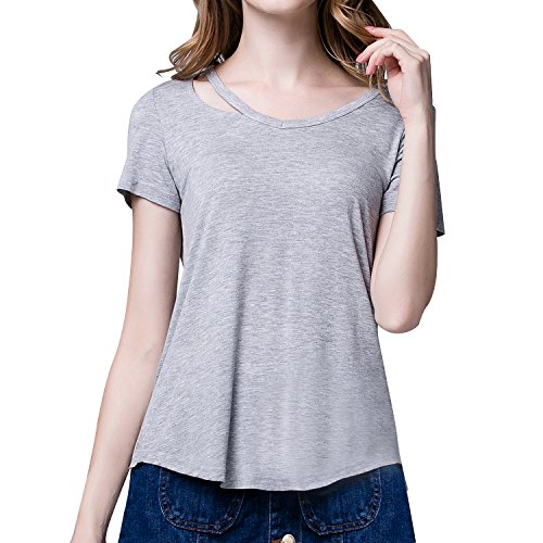 RoxZoom Women's V-Neck T-Shirt, Super Soft Modal Spandex Short Sleeve Pullover Causal Tops Tee, Gray, Size ()