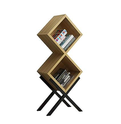 QIANGDA Bookshelf Bookcase X Shape Steel Base Free Standing Shelving Storage Display Unit Organizer