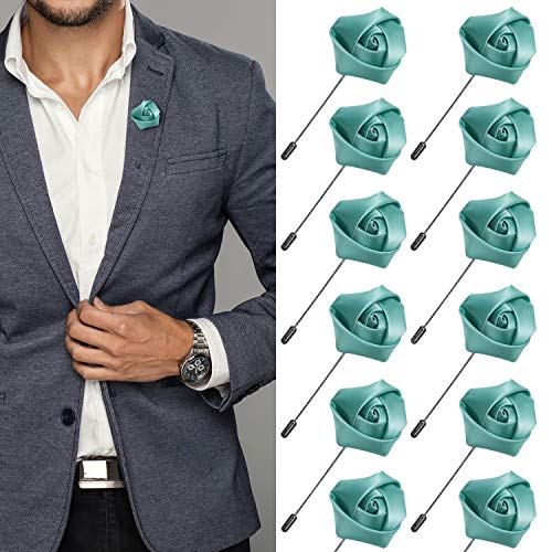 JLIKA Lapel Pins for Men Flower Pin Rose for Wedding Boutonniere Stick Boutineers (Set of 12 PINS) (Mint)