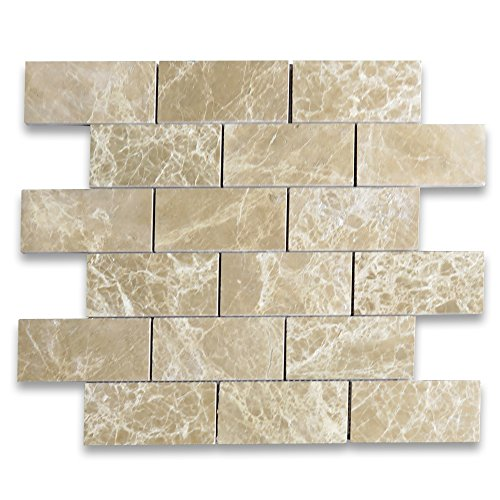 Emperador Light Marble Subway Brick Mosaic Tile 2 x 4 Polished