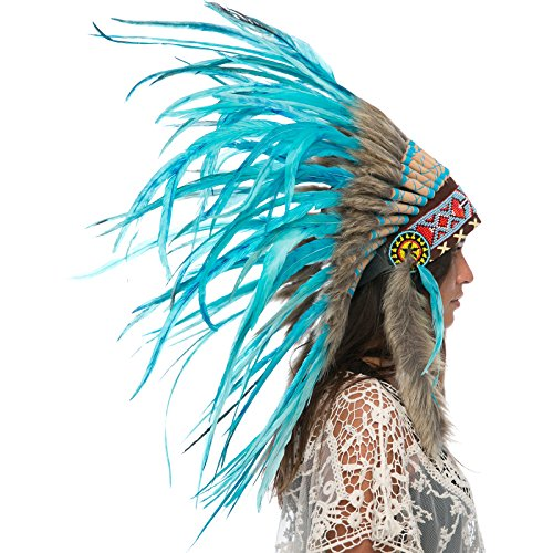 Feather Headdress- Native American Indian Inspired- Handmade by Artisan Halloween Costume for Men Women - Real Feathers - Full Turquoise -