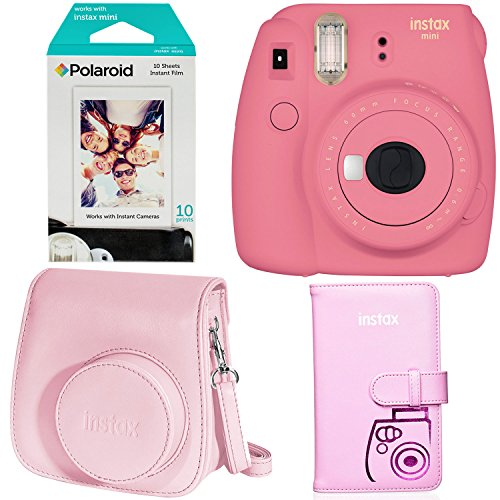 Fujifilm Instax Mini 9 Instant Camera - Flamingo Pink, Polaroid Instant Mini Film, Fujifilm INSTAX WALLET ALBUM PINK and Fujifilm Instax Groovy Camera Case - Pink by Ritz Camera
