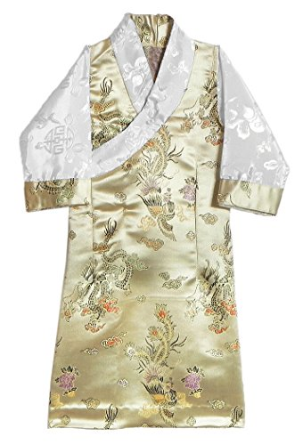 DollsofIndia Beige Brocade Silk Sikkimese Dress for 1 To 2 Years of Age (LO42)