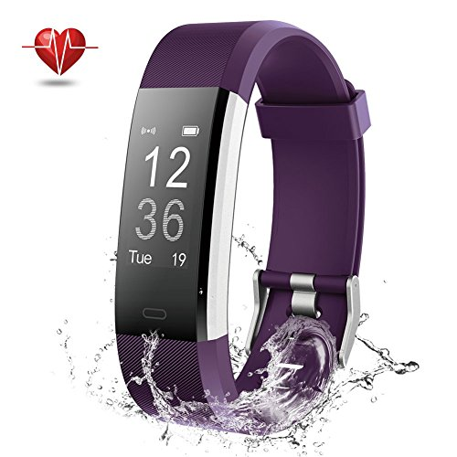 Fitness Tracker, NOVETE Bluetooth 4.0 Heart Rate Monitor Bracelet, IP67 Waterproof, Touch Screen, Smart Wristband, Pedometer Sports Activity Tracker Smart Watch for Android and IOS Smartphone (Purple)