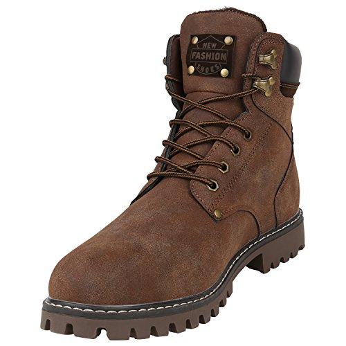 Stiefelparadies Herren Worker Boots Profilsohle Flandell Dunkelbraun Carlton