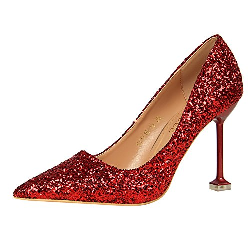 Xue high shoes heeled marriage mother leather a Qiqi Silver female single gradient with with 39 shoes Red crystal fine shoes tip wrZ4wqIxT