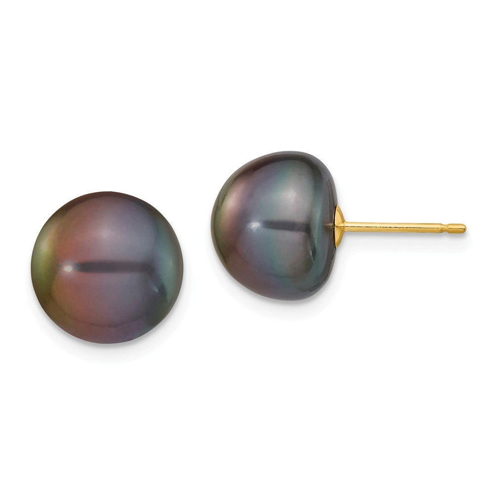 Solid 14k Yellow Gold 10-11mm Black Button FW Cultured Pearl Stud Earrings