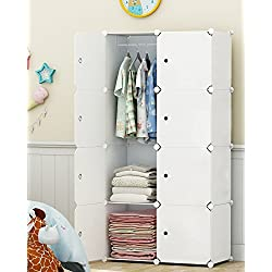 Elpitha Wardrobe Portable Clothes Closet Organizer Bedroom Armoire Dresser Cube Storage,5 Cubes&1 Hanging Section