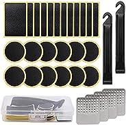 DOHAPPYS 30Pcs Bike Repair Kit, Pre-glued Patch Puncture Repair Kit Bike Tire Patch, Bicycle Tube Puncture Rub