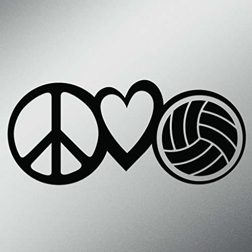 Peace Love Volleyball Vinyl Decal Sticker | Cars Trucks Vans Walls Laptops Cups | Black | 7.5 X 3.3 Inch | - Volleyball Laptop Skin