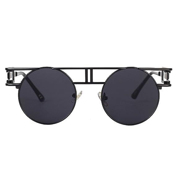 842d78d731a VeBrellen Gothic Man Sunglasses Reflective Flash Mirror Lens Vintage Round  Men Steampunk Sunglasses (Black Frame