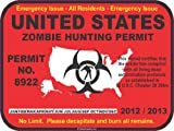 United States zombie hunting permit license decal bumper sticker