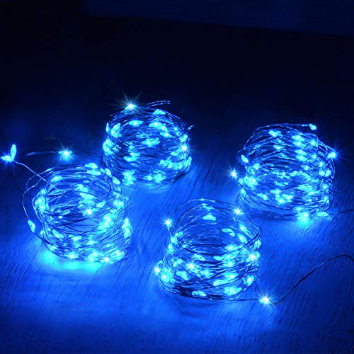 Abkshine 4pcs Blue Led Christmas Lights, Battery Powered led Starry Fairy Lights, Blue LED String Lights for Office Mini Xmas Tree Decoration (50 Lights Blue Mini)