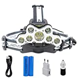 Lightess 9 LED Zoomable Headlamp Rechargeable Adjustable 6 Mode Headlight Torch Super Bright Waterproof Lightweight Head Flashlight For for Camping Working Running Outdoor fishing Hiking and Reading 7000 lumen