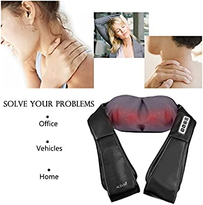 ACEVIVI Shiatsu Back Neck and Shoulder Massager with Heat,16 Deep Tissue 3D Kneading Balls, Pillow Massager with Adjustable Intensity for Neck, Back, Shoulders, Foot, Legs and Feet at Home, Car,Office