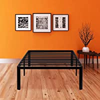 SLEEPLACE 14 Inch Tall SPT-200 Round Edge Steel Slat / Non-Slip Support Bed Frame / Blcak / Beds for School / Dorm / College / TWIN XL