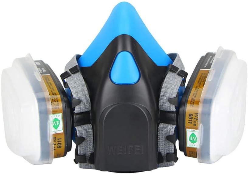 Mascarilla antipolvo, respiradores reutilizables de seguridad, filtro de aire de silicona, doble bote, faceta, industria química contra el polvo de gas, accesorios de seguridad
