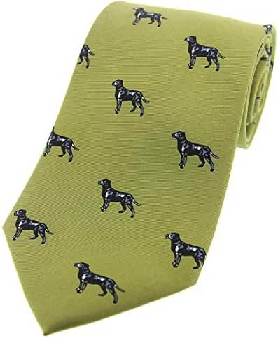 Country Green Labrador Country Silk Tie by David Van Hagen