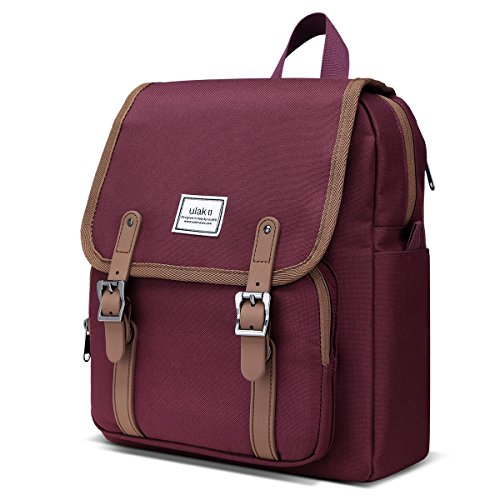 - ULAK Casual Mini Backpack Lightweight Rucksack Slim Anti Theft Computer Bag-Red