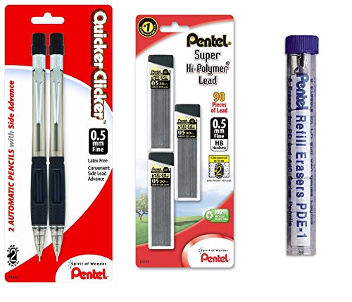 (Pentel Quicker Clicker Automatic Pencil, 0.50 mm, Assorted, 2 per Pack with Lead and Eraser Refill (Bundle))