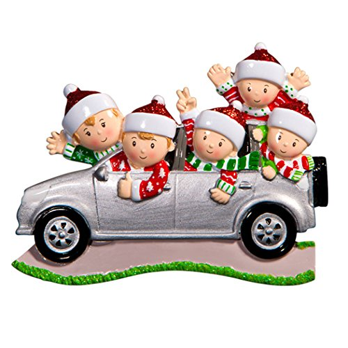 Personalized SUV Family of 5 Christmas Tree Ornament 2019 - Sibling Friend Travel in Car Ugly Sweater Tradition Winter Holiday Vacation Grandkids Gift Year - Free Customization (Five)]()